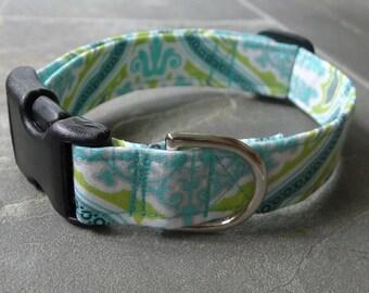 Aqua Lime cotton Dog COLLAR custom dog collar