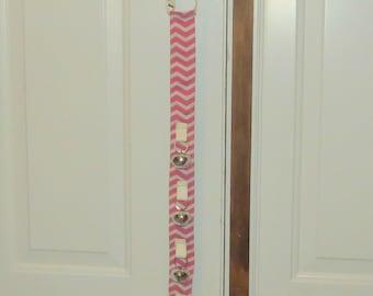 Dog Door Bells Pink and Cream Chevron **** No scratch