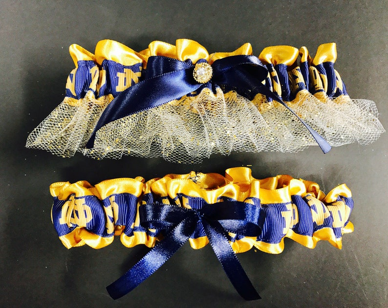 cdcefa860937 Notre Dame inspired wedding garter inspired Blue and Gold | Etsy