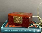 Vintage Wood Jewelry Box, Brass Trinket Box, Keepsake Ring Box Bohemian Home, Asian Chinoiserie Decor, Boho Home, Christmas Gift, Vintage