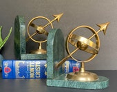 Vintage Brass Armillary bookends, Brass and marble bookends, Green marble book ends Brass bookends, Bookcase decor, Gift for Graduate