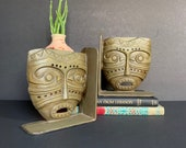 Vintage Primitive Mask Industrial Metal Bookends, Cast Iron Book Ends, Heavy, Tiki Mask, Housewarming Gift, Tribal, Book Ends