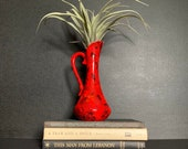 Mid Century Red Vase, Pitcher Vintage Mid Century Modern handled vase, jug, pitcher, 60s 70s pottery, retro rustic home decoration, MCM
