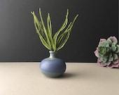 Vintage Pottery Bud Vase, Blue Periwinkle Weed Pot, Mid Century Modern, Oil Candle Wick, Ceramic Vase, Vintage Decor, Air Plant Holder, MCM
