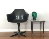 Mid Century Chair by Burke, Danish Modern Tulip Chair Style Black Arm Dining Chair, MCM, Accent Chair, Tulip Arm Chair, Propeller Base,
