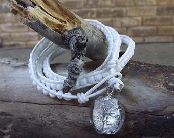 White Leather Beaded Wrap Bracelet