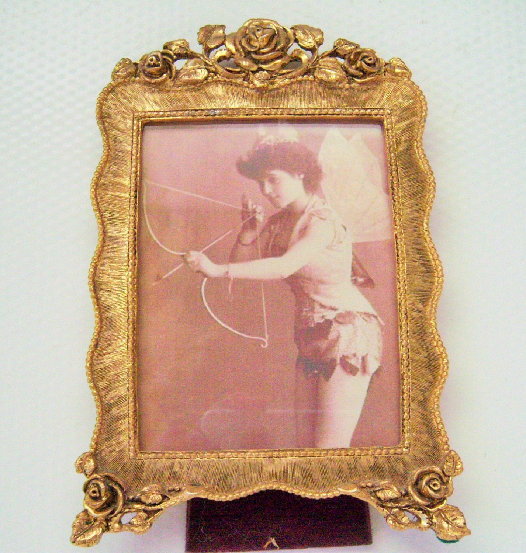 Bronce dorado Vintage Matson foto marco de 4 x 3 oro antiguo rosas ...