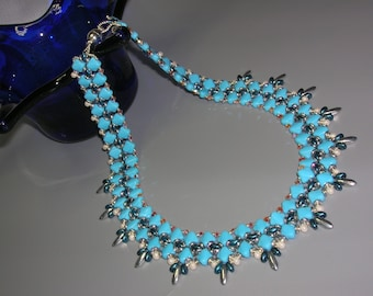 Tutorial - Blue Bay Necklace - Silky and O Czech beads beading tutorial