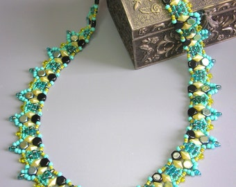 Tutorial - Colors Symphony Necklace - Diamond duo, Honey comb and Super Duo beads beading tutorial