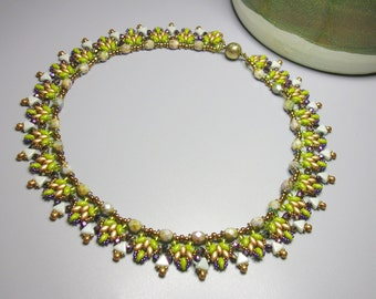 Tutorial - Misty - Kheops, Superduo, Fire Polish and drop beads - beading tutorial Necklace