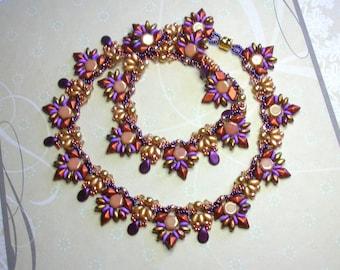 Tutorial - Inka Necklace - Diamond Duo, Honeycomb, Super Duo and Swarovski beads beading tutorial