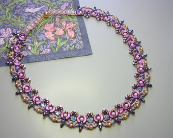 Tutorial - Dantella Necklace - Arcos and Minos, Kheops, Super Duo and pearl beads beading tutorial