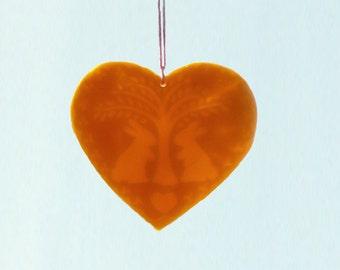 Bunny Beeswax Ornament / Window Heart Transparency - Spring - Bunnies & Tree Window Beeswax Heart