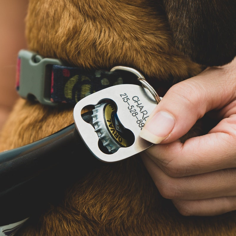Personalized Dog Collar ID Tag Bottle Opener image 0