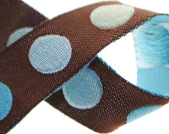 Aqua Dot Jacquard Trim 5/8 inch wide - 8 Yards