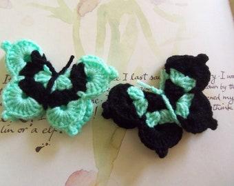 Crochet Butterfly Appliques. Set of Two Black and Green Crochet Butterfly Appliques. Medium Size Crochet Butterflies.