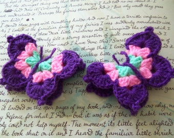 Set of Two Purple and Pink Crochet Butterfly Appliques. Crochet Appliques. Crochet Butterfly Appliques.