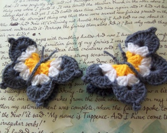 Set of Two Gray Crochet Butterfly Appliques. Handmade Appliques. Crochet Butterfly Appliques.