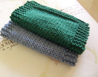 Gray and Green Crochet Washcloth. Handmade Face Cloth. Set of Two Assorted Washcloth.