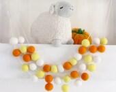 Candy Corn Felt Ball Garland- Candy Corn Garland- Halloween Garland- Orange, yellow, white fall decoration- Halloween bunting