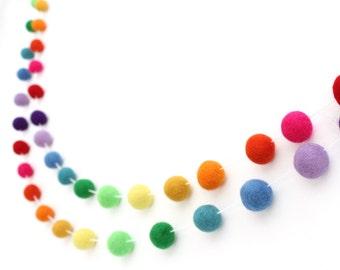 Felt Ball Garland- Nursery Decor- Rainbow Birthday Banner- Playroom Decor- Baby Shower Decor- PomPom Bunting- Party Banner- First Birthday