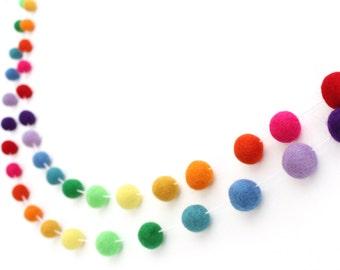 Rainbow Felt Ball Garland- Pom Pom Garland- Birthday bunting- ROYGBIV banner- Wedding Rainbow Garland- Rainbow bunting- Rainbow decor