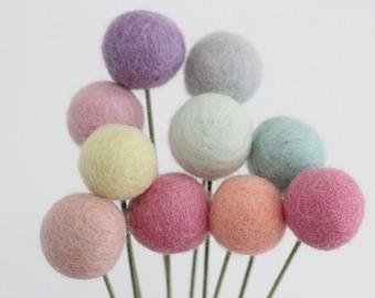 Rainbow Sorbet Felt Pom Flowers- Billy Ball Flowers- Pastel Rainbow Centerpieces- Bridesmaid bouquet- Bridal bouquet- wool pom poms