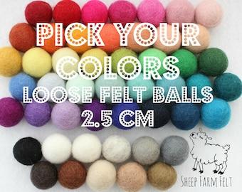 Loose felt balls- Choose your colors- 100% wool- 2.5 cm- Mix and Match- Felt Balls- Felt balls only (not strung on a garland)