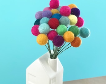 Adventure is Out There Felt Pom Pom Flowers- Billy Ball Flowers- Colorful Centerpieces- Bridesmaid bouquet- Flower bouquet- wool pom poms