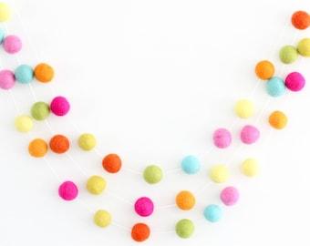 Summer Sorbet- Neon colored Felt Ball Garland- Pom pom garland- pink yellow green orange aqua- wool felt balls- summer decor