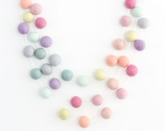 Rainbow Sorbet- Pom Pom Garland- Baby Room Decor-Garland-Pom Pom Bunting- Baby Shower Decor- Pastel Girl Decor-Rainbow baby- Pastel Nursery