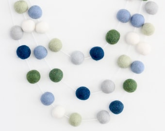 Earth & Sky Blue and Green Garland- Boy Nursery Decor- Navy Garland-Pom Pom Bunting- Baby Shower Decor- Nautical Bunting -Navy Gray Garland