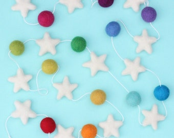 Star Light- Stars and Colorful Felt Ball Garland - Rainbow nursery decor- star bunting- felt stars- Star nursery decoration- stars