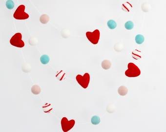Aqua Valentine Felt Ball Garland- 8 feet long- Valentine's Day Garland - Felt Heart Garland- Valentines Day Decor- Heart banner