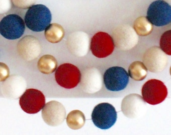 Grand Old Flag Garland- Felt Ball Garland- Red White Blue Gold- Fourth of July Party decor- 4th of July party decor- Americana garland