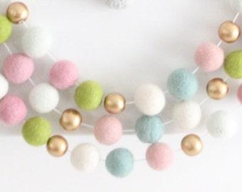 Watercolor Flora Felt Ball Garland- Pink Nursery Decor- Gold Accent- Girl Nursery Garland- Pink & Gold Nursery Decor- Pink Mint Ivory