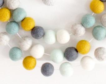 Tranquil Mint Pom pom garland, felt ball bunting, felt balls, mint, mustard, gray, white, boy nursery decor