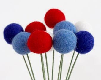 Red White & Blue Felt Pom Pom Flowers- Billy Ball Flowers- Fourth of July bouquet- Flower bouquet- patriotic wool pom poms red white blue