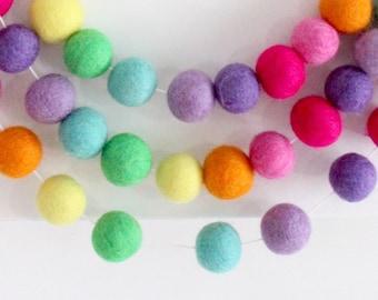 Spring Garland- Candy Rainbow Felt Ball garland- Pompom garland- Rainbow baby- Spring mantle decor- Easter decoration