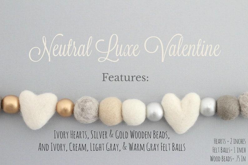 Neutral Luxe Valentine Felt Ball Garland-Valentine's Day image 0