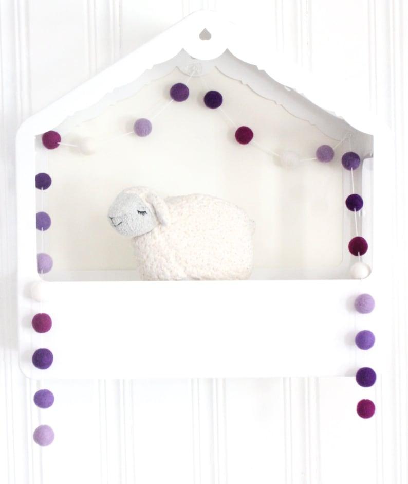 Purple Felt Ball Garland Purple Birthday Decor Baby Girl Nursery Garland Purple Baby Shower Decoration Purple Felt Ball Pom Pom Garland