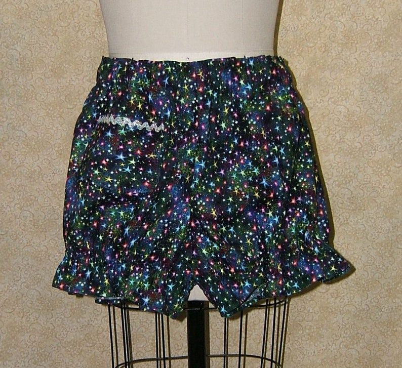 Twinkle lights knickers Rainbow Stars cotton cell pocket elastic at waist and leg openings