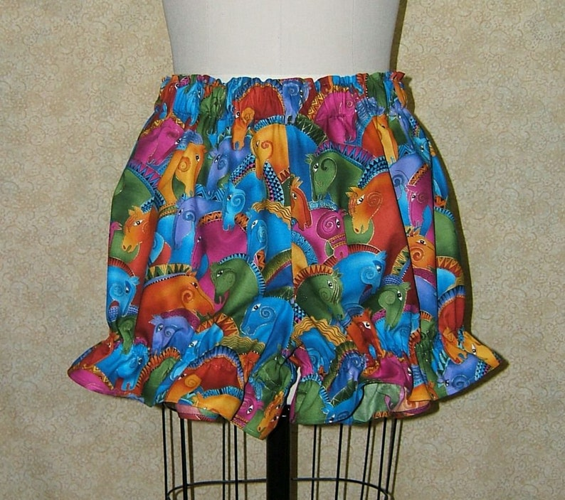 Rainbow horses knickers bloomers pantaloons cotton elastic at waist /& leg openings bright colors horse heads adult womens size lg med small