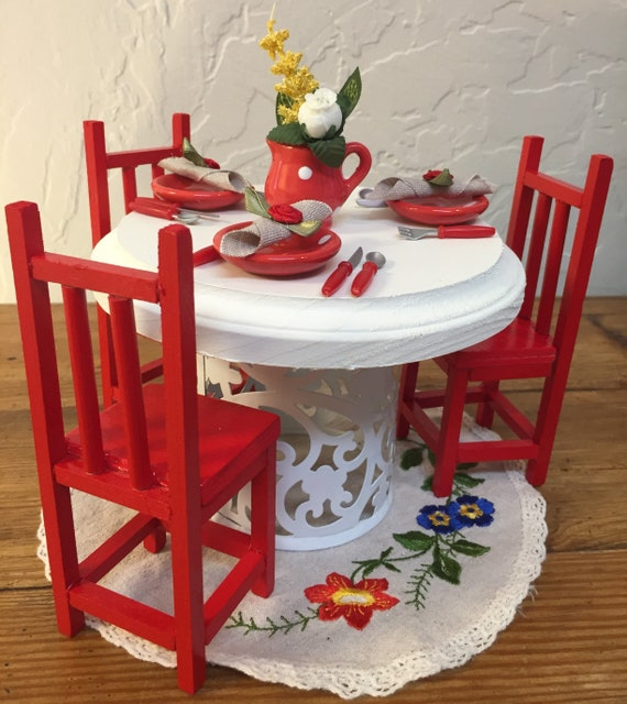 Barbie Doll House CHEERY Cherry DINING Set VIGNETTE Room Furniture &  Accessories Vintage Table Chairs Kitchen