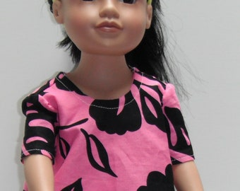 """Pink and Black Hibiscus Top & Pants/Trousers Outfit 18"""" SLIM Doll Clothes"""