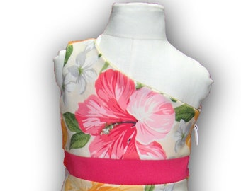 """One Shoulder Watermelon Yellow Floral 18"""" Doll Clothes Above Knee Dress w/ Invisible side zipper"""