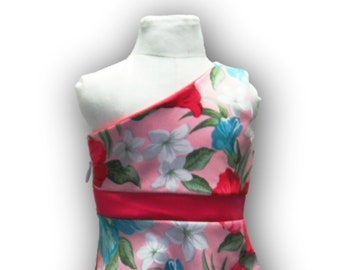 """One Shoulder Pink Teal Watermelon Floral 18"""" Doll Clothes Above Knee Dress w/ Invisible side zipper"""