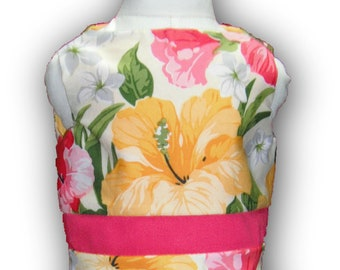 """Watermelon Yellow Floral 18"""" Doll Clothes Sleeveless Above Knee Dress w/ Invisible Back Zipper"""