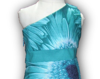 """One Shoulder Teal Purple Daisy 18"""" Doll Clothes Knee Length Dress w/ Invisible side zipper"""
