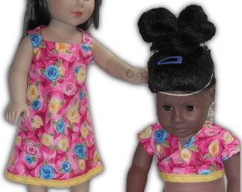 """Shrug Blue Yellow Flowers Square neck & Sleeveless Knee Length Dress 18"""" Doll 2-piece Outfit"""